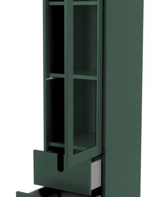 Tenzo UNO Vitrinekast – 1-Deur/2-laden – 40x40x178 – Bosgroen   8720143246005