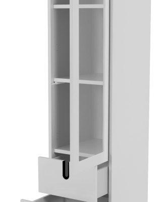 Tenzo UNO Vitrinekast – 1-Deur/2-laden – 40x40x178 – Wit   8720143245961