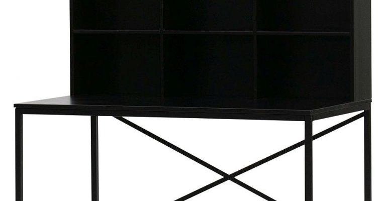 WOOOD Elwin Bureau Met Vakkenkast – 125x70x157 – Geschuurd Grenen Zwart | 8714713092567