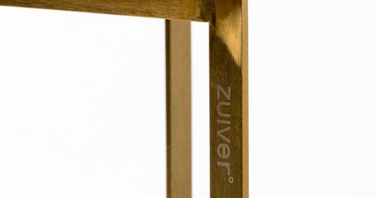 Zuiver Luigi Ronde Bijzettafel -Ø40×45 Cm – Wit Terrazzo – Goudkleurig Onderstel | 8718548047297