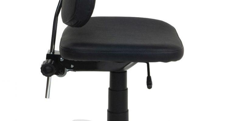 24Designs Bureaustoel Maxime – Stof Zwart/Kunstleer Zwart – Chromen Kruispoot |