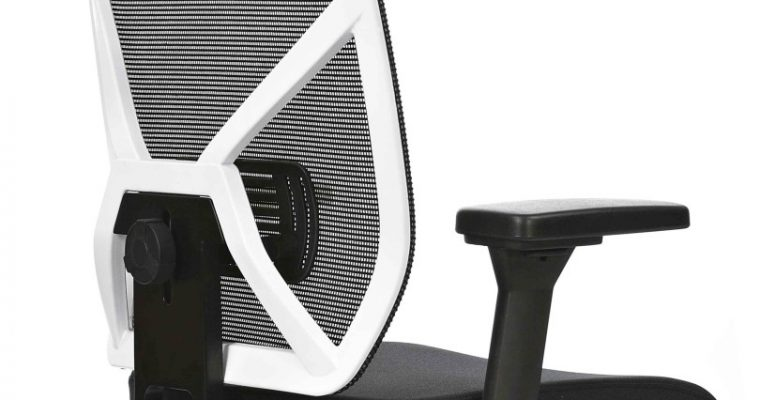 24Designs Bureaustoel Monaco NPR 1813 – Wit Rugframe/Zwarte Zitting – Aluminium Kruispoot | 8720195950509