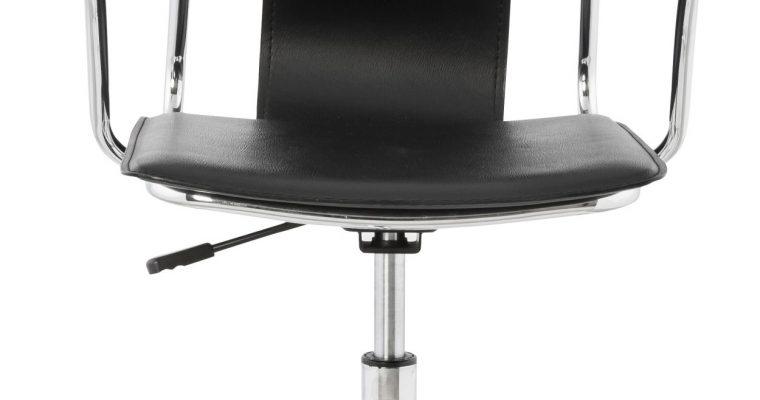 24Designs Bureaustoel Traviano – Kunstleer Zwart – Metalen Kruispoot | 8719874342667