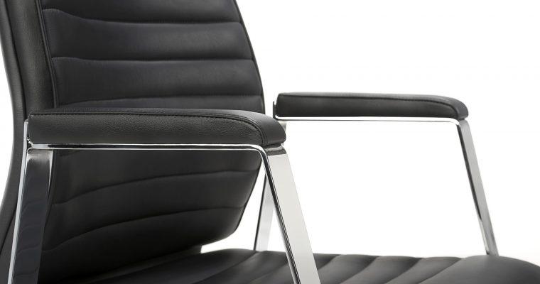 24Designs Bureaustoel Wellington – Leer Zwart – Aluminium Kruispoot | 8720143243295