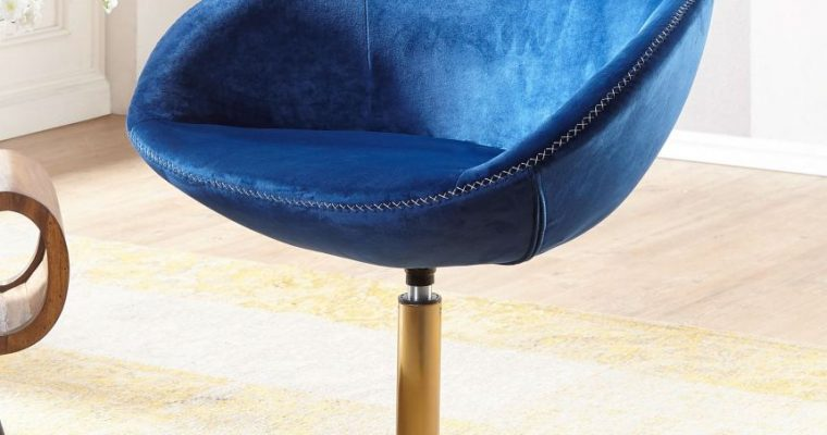 24Designs Draaibare Loungestoel Sarah Velvet – Blauw Fluweel – Goudkleurige Trompetvoet   8719874348430