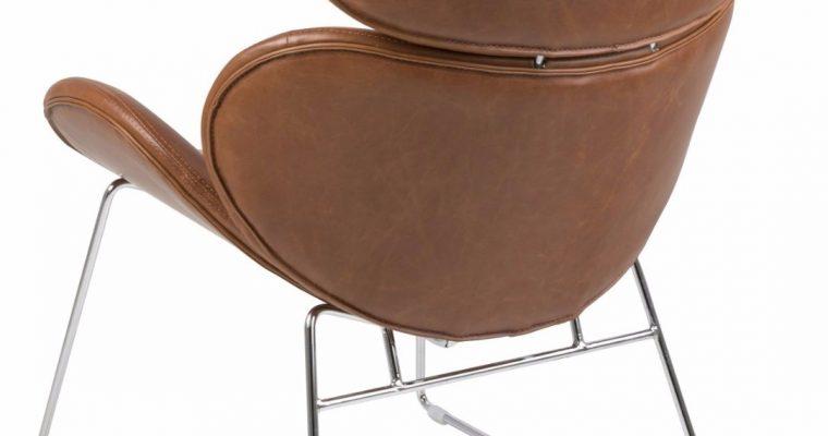 24Designs Fauteuil Carson – Chromen Metalen Onderstel – Cognac Kleurige Kunstleren Zitting | 8719323476936