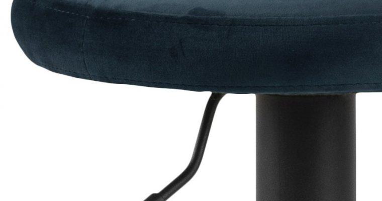 24Designs Foss Verstelbare Barkruk – Set Van 2 – Blauw Fluweel – Mat Zwart Onderstel | 8720143249013