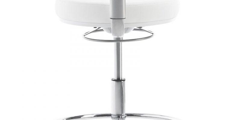 24Designs Hoge Werkstoel Medline Xtra Rugleuning – Wit Kunstleer – Kruispoot Met Wielen | 8720143249211