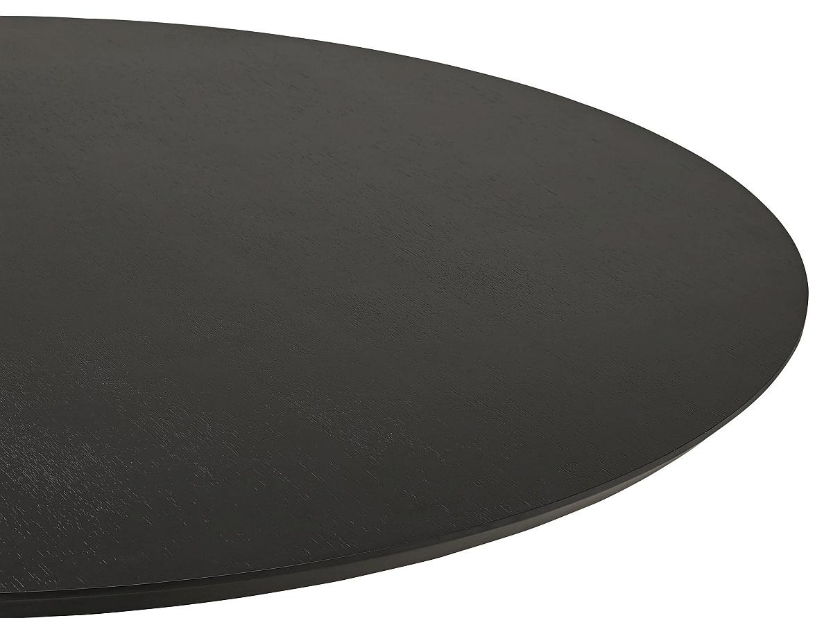 24Designs Lennox Statafel H110 Cm – RondØ90 Cm Zwart Essenhout Tafelblad – Chroom  