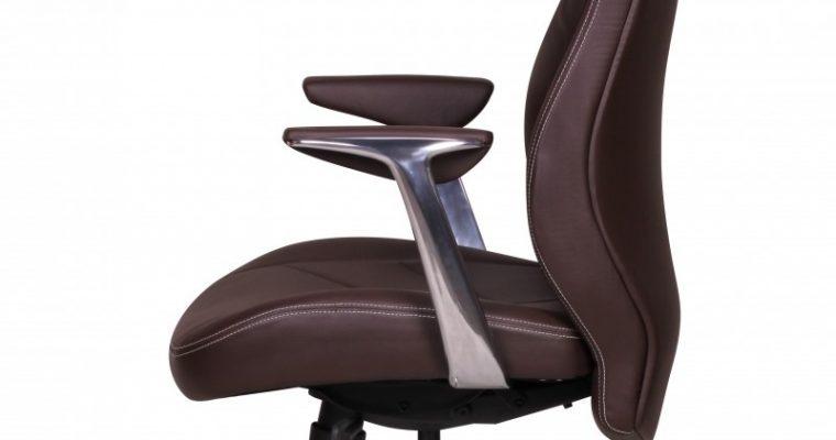 24Designs Milo Bureaustoel – Bruin Leren Zitting – Aluminium Kruispoot | 8719874346269