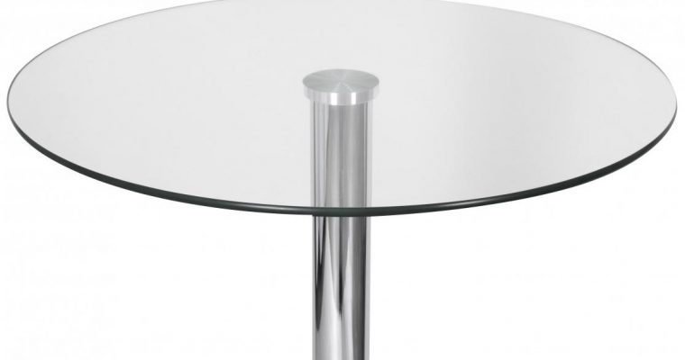 24Designs Nino BartafelØ60×105 – Glazen Tafelblad – Chromen Onderstel   8719874345521