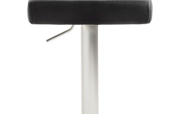 24Designs Verstelbare Barkruk James – Zitting Zwart Kunstleer – RVS Onderstel | 8720143243653