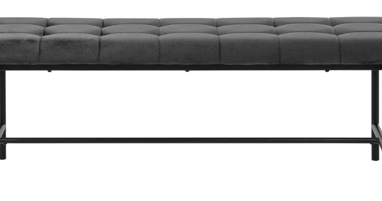 24Designs Ziggy Eetbank 160x37x46 – Donkergrijs Fluweel – Metalen Poten | 8719874348966