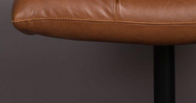 Dutchbone Bar Hocker – Bruin Kunstleer – Zwart Metalen Trompetvoet | 8718548050051
