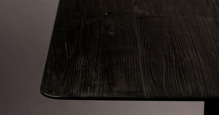 Dutchbone Braza Vierkante Bartafel – L70xB70xH93 Cm – Zwart Houten Tafelblad – Metalen Onderstel | 8718548043923