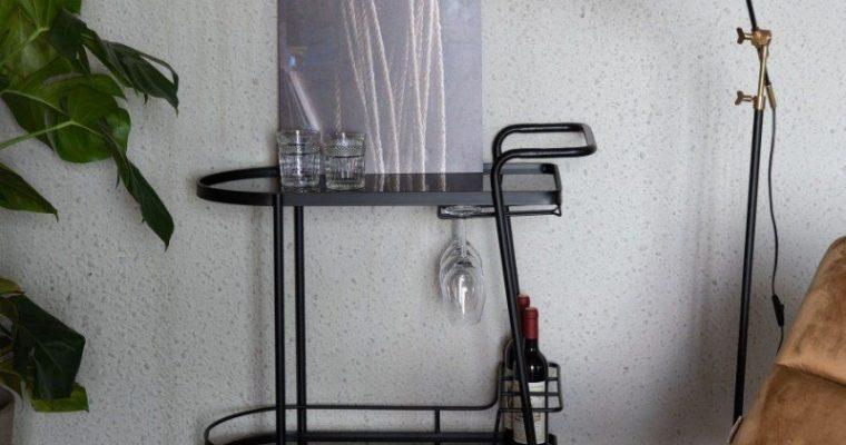 Dutchbone Giulia Trolley – B78,5xD40xH81 Cm – Zwart Metaal | 8718548049574
