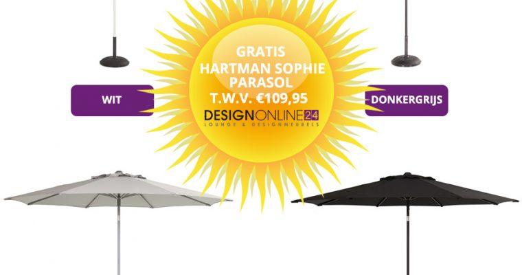 Hartman Sophie Studio Bistro TafelØ66 Cm Lichtgrijs + 2 Studio Stoelen Wit + Gratis Parasol T.w.v. ?109,95 | 8719874348874