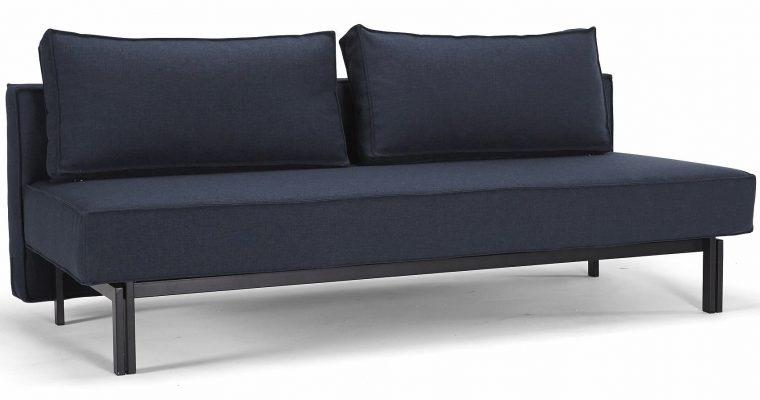 Innovation Slaapbank Sly – Mixed Dance Blue 528 – Mat Zwart Onderstel | 8720143240171