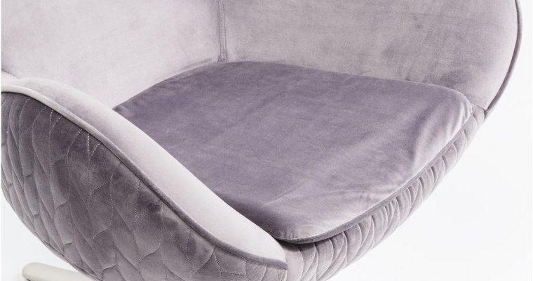 Kare Design – Draaibare Fauteuil Lounge Leaf – Grijs Fluweel | 4025621831433