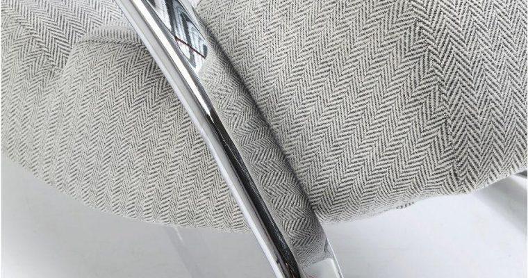 Kare Design – Schommelstoel Manhattan – Stof Beige – Chromen Onderstel | 4025621822707