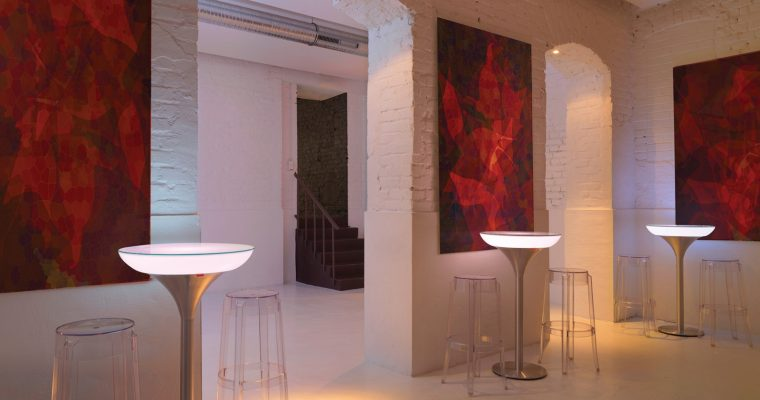 Moree Ronde Statafel – Bartafel Lounge M – Hoogte 105 Cm LED Accu Outdoor – Wit   4260218361294