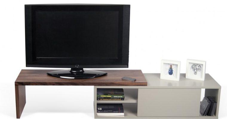 TemaHome Uitschuifbaar TV Meubel Move – 110/203x35x32 – Mat Grijs – Walnoot   5603449638244