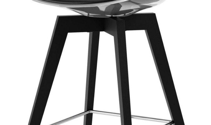 Tenzo Bonni High Barkruk – Set Van 2 – Transparant – PU Zwart – Zwarte Houten Poten | 8719323475212
