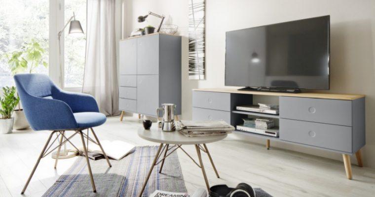 Tenzo TV-Meubel Dot 4-Laden B162 X D43 X H60 Cm – Grijs – Eiken Poten   7394084072286