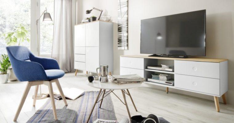Tenzo TV-Meubel Dot 4-Laden B162 X D43 X H60 Cm – Wit – Eiken Poten   7394084072279