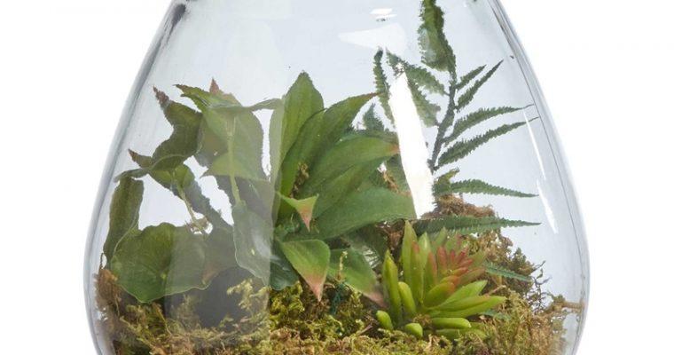 Terrarium Met Kunstplant Helder