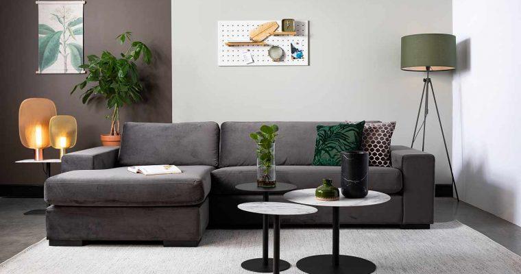 Zuiver Fiep Bank Links – Breedte 275 Cm – Grijs Fluweel | 8718548043244