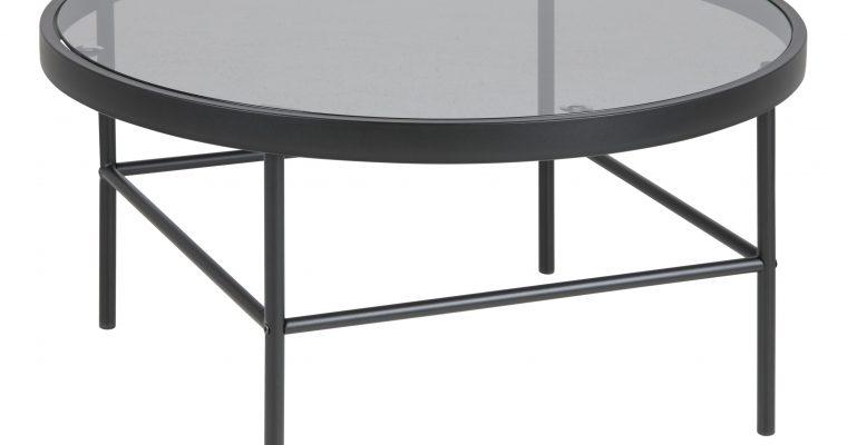 Bendt Ronde Salontafel 'Louisa' Zwart glas, 80cm   5705994991444
