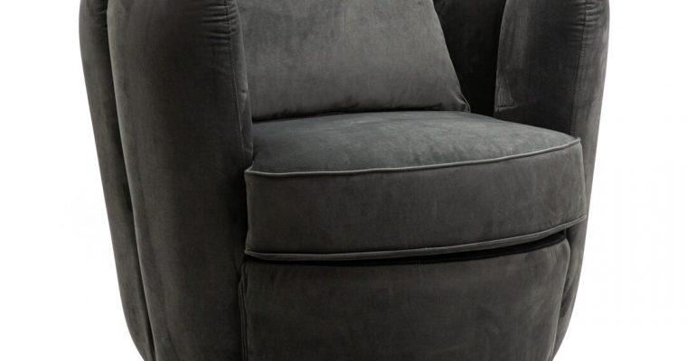 Eleonora Draaifauteuil 'Maria' Velvet, kleur grijs | 8719087021953