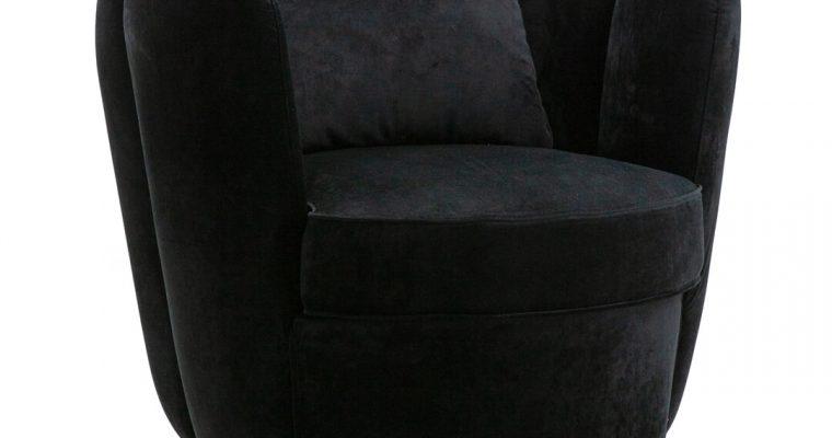 Eleonora Draaifauteuil 'Maria' Velvet, kleur zwart | 8719087021960
