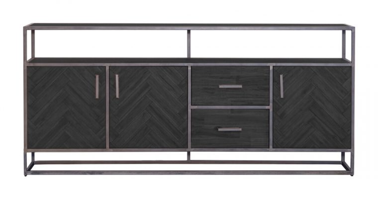 Eleonora Dressoir 'Hudson' 200cm, Acaciahout en metaal, kleur zwart   8719087022608