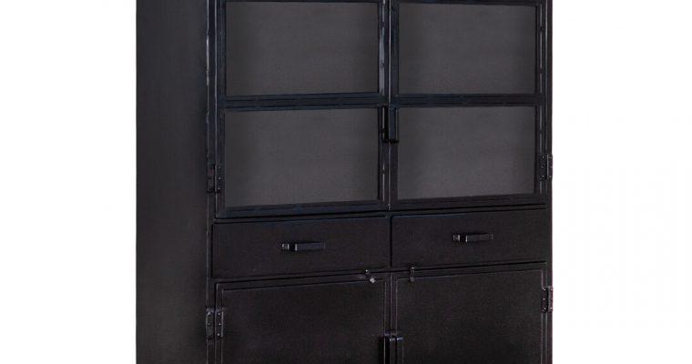 Eleonora Industriële opbergkast 'Steel' met 4 deuren, kleur zwart | 8719087022080