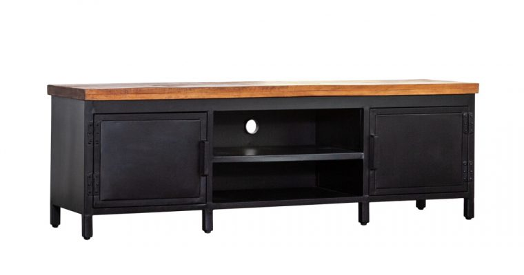 Eleonora Industrieel Tv-Meubel zwart metaal met mango-houten blad 170cm | 8719087022745