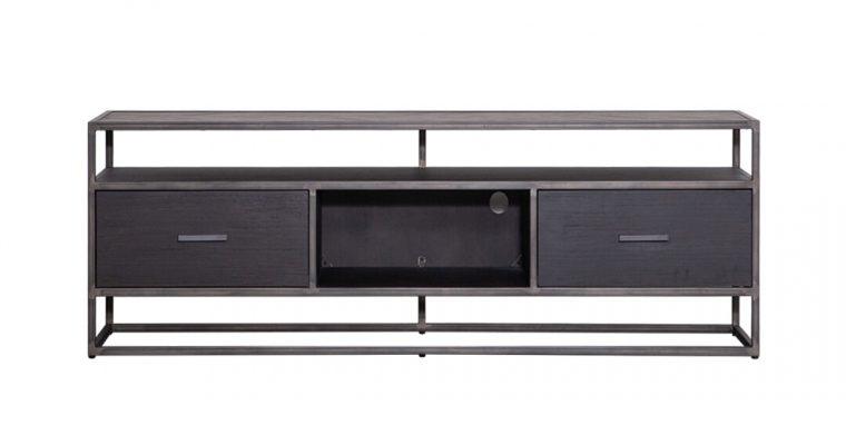 Eleonora TV-meubel 'Hudson' 150cm, Acaciahout en metaal, kleur zwart | 8719087022547