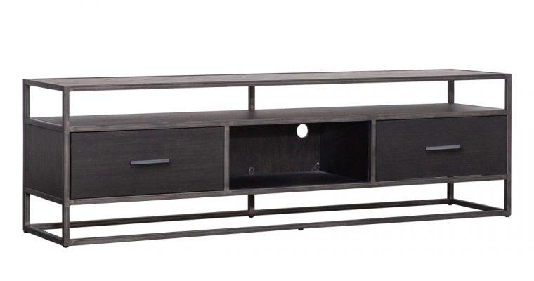 Eleonora TV-meubel 'Hudson' 185cm, Acaciahout en metaal, kleur zwart | 8719087022561