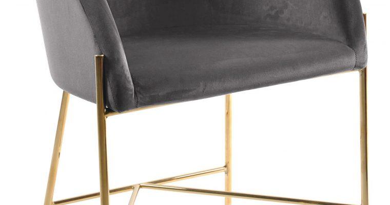 Interstil Eetkamerstoel 'Nelson Gold' Velvet, kleur Donkergrijs | 5713941049001