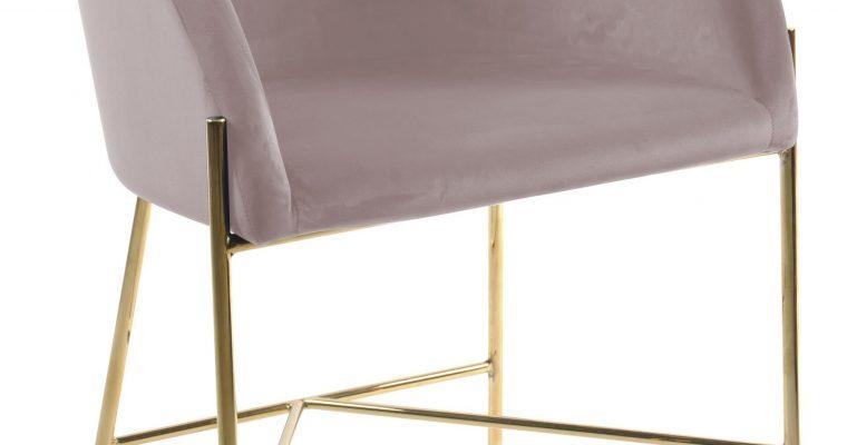 Interstil Eetkamerstoel 'Nelson Gold' Velvet, kleur Dusty Rose | 5713941050892