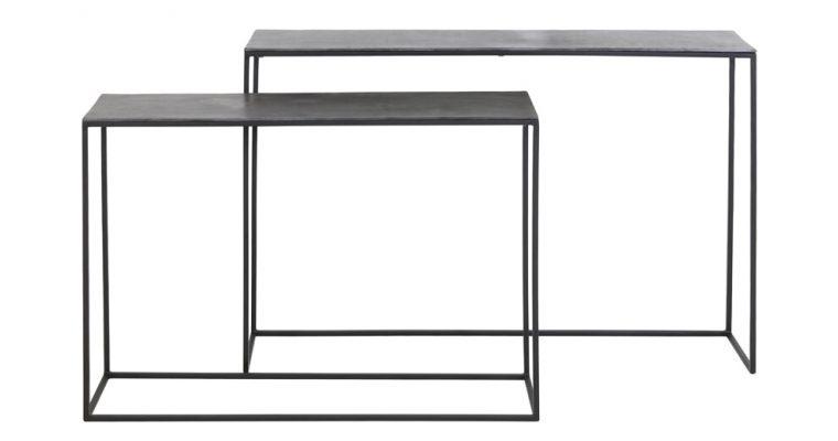 Light & Living Sidetable 'Boca' Set van 2 stuks, ruw lood ant-mat zwart | 8717807212988