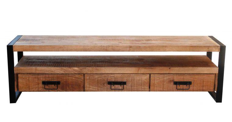 LivingFurn Industrieel TV-meubel 'Strong' Mango en staal, 180cm |
