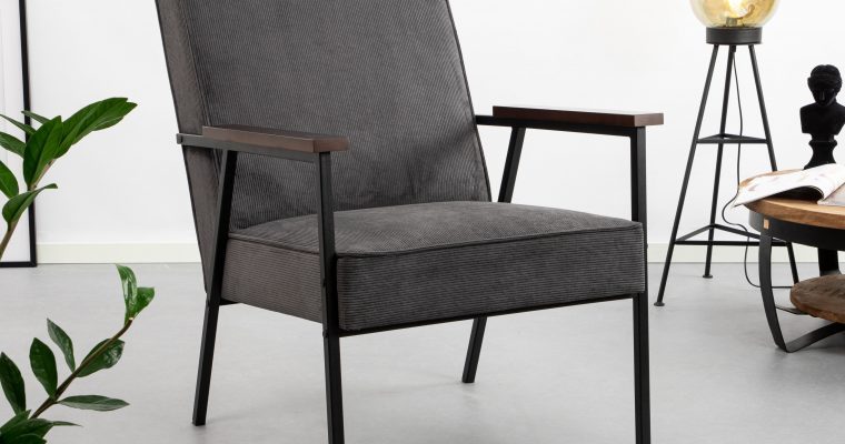 WOOOD Fauteuil 'Sally', kleur antraciet | 8714713067930
