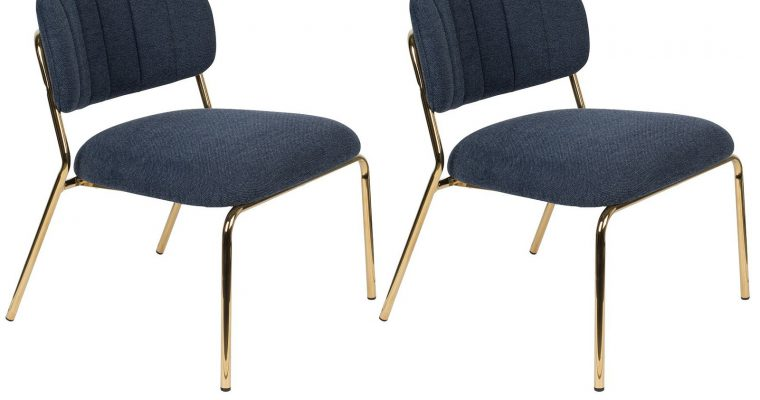 24Designs Arliss Lounge Fauteuil – Set Van 2 – Stof Donkerblauw – Goudkleurig Metaal | 8720195951407