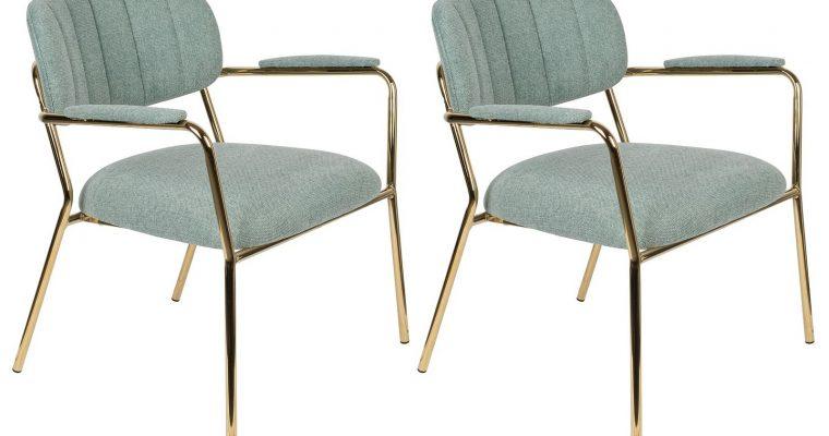 24Designs Arliss Lounge Stoel Armleuningen – Set Van 2 – Stof Lichtgroen – Goudkleurig Metaal | 8720195951360