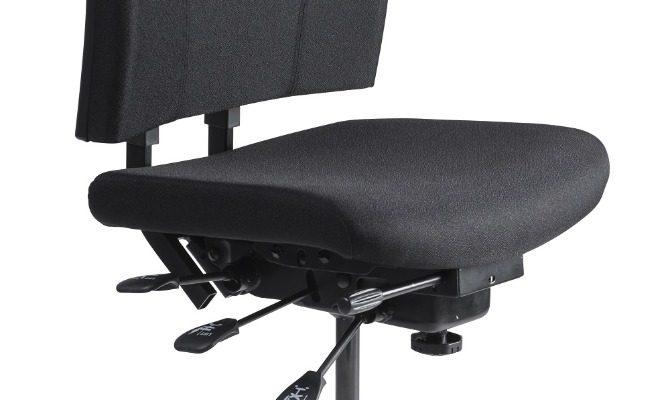 24Designs Wenen Ergonomische Bedrijfsstoel EN1335 – Stof Zwart – Aluminium Onderstel   8719874344067