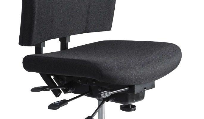 24Designs Wenen Ergonomische Bedrijfsstoel EN1335 – Stof Zwart – Zwart Onderstel   8719874344050