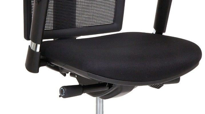24Designs Yorkton Ergonomische Bureaustoel EN1335 – Stof/Mesh Zwart – Aluminium Onderstel | 8719323474659