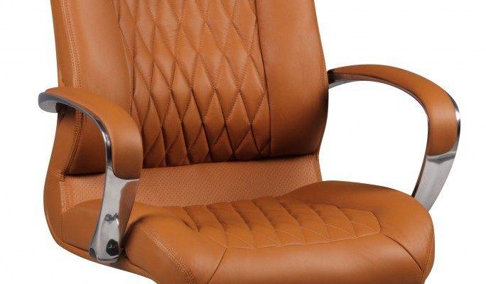 24Designs Directie Bureaustoel Milan – Cognac Leer – Aluminium Kruispoot Met Wielen   8719874345699